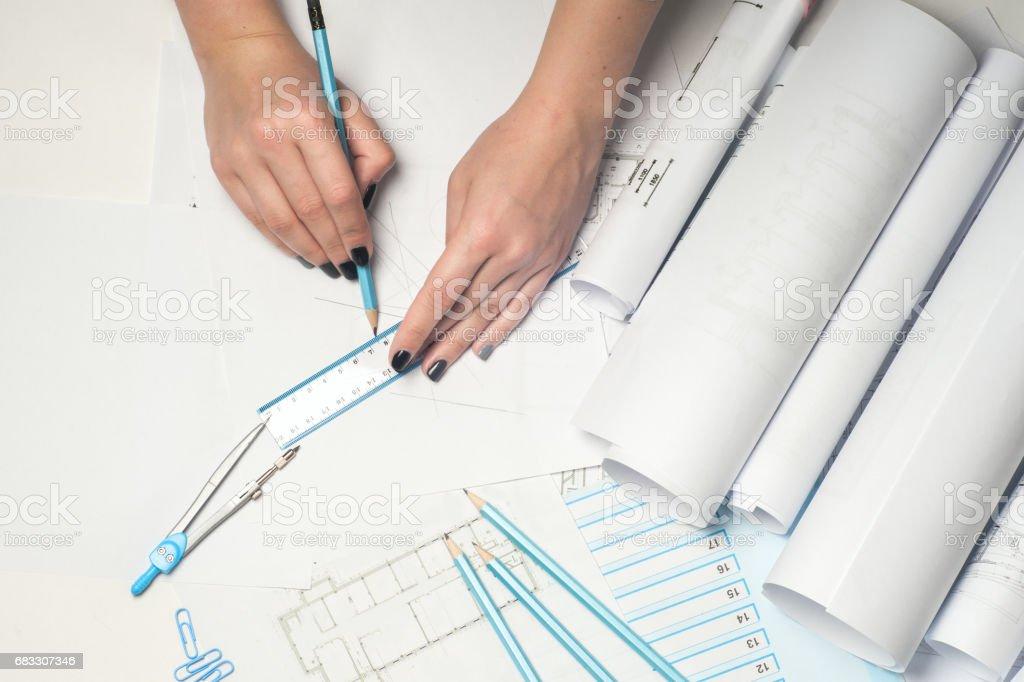 Architect working on blueprint. foto stock royalty-free