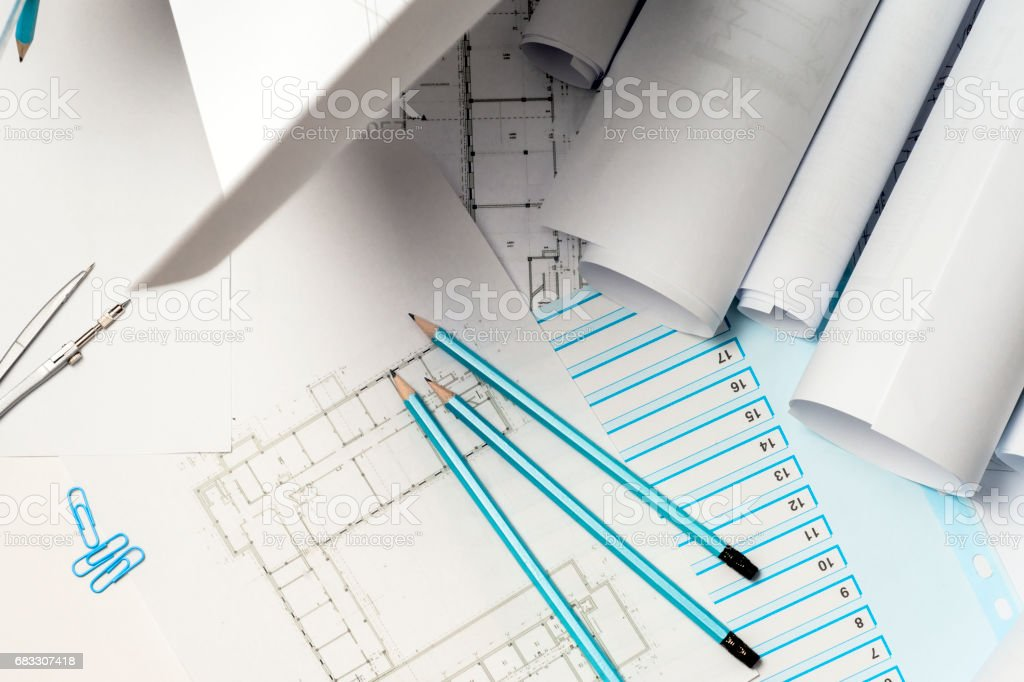 Architect working on blueprint. foto stock royalty-free