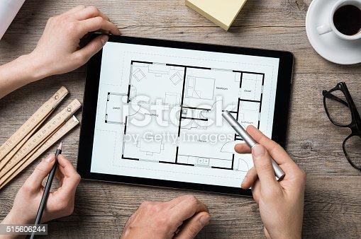 istock Architect working on digital tablet 515606244