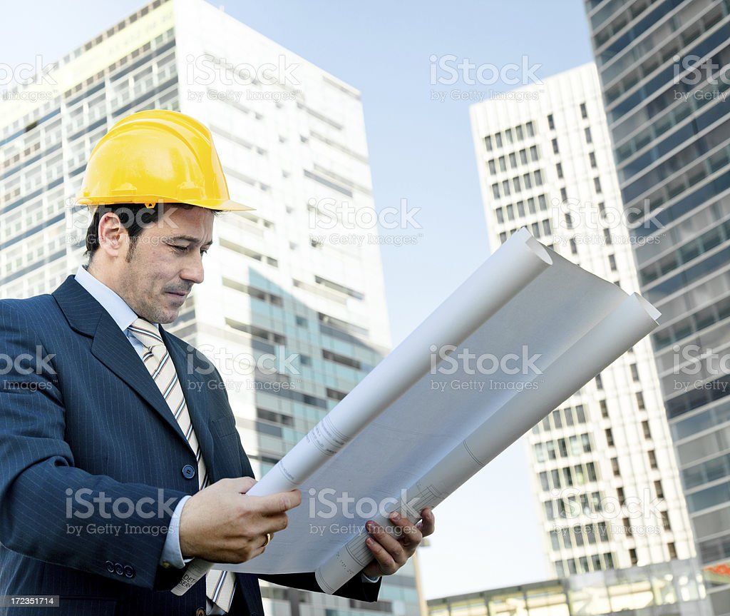 Architect working on site royalty-free stock photo