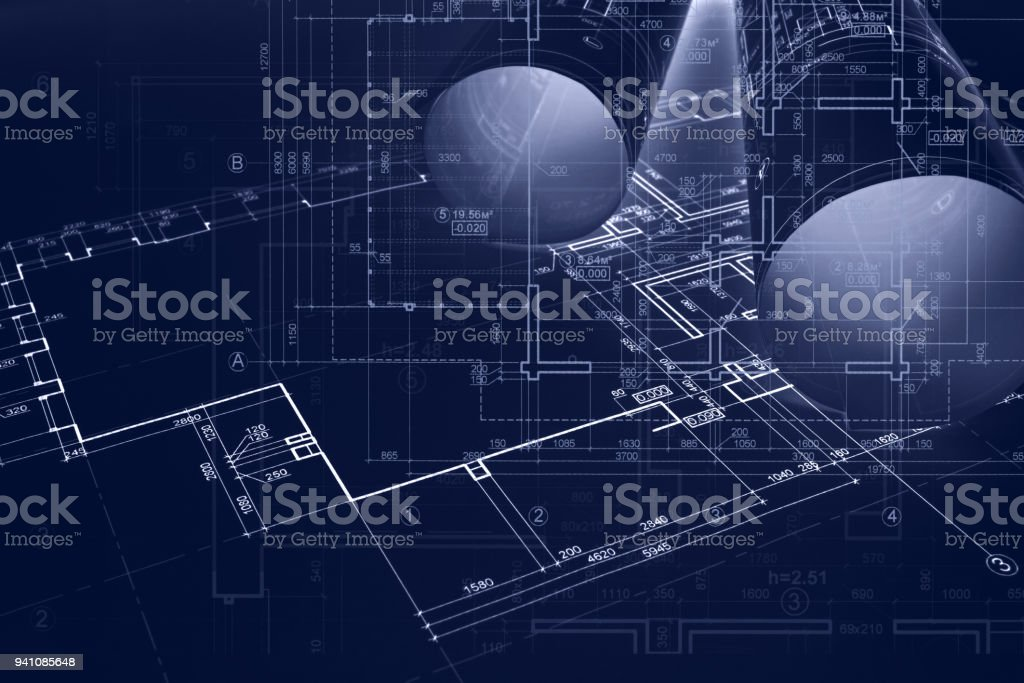 Architect Workplace Background Architectural Blueprint Rolls
