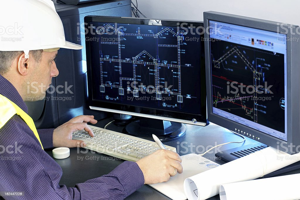 Architect works construction project royalty-free stock photo