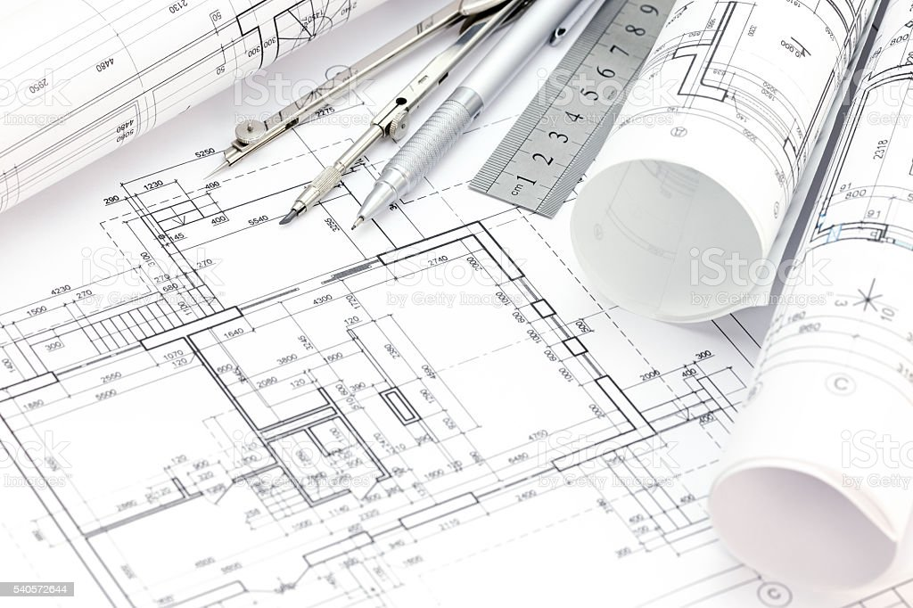 architect workspace with floor plan blueprint rolls drawing tools royalty free stock photo - Floor Plan Tools
