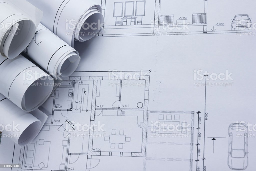 Architect worplace top view architectural project blueprints architectural project blueprints blueprint rolls on royalty free malvernweather Image collections
