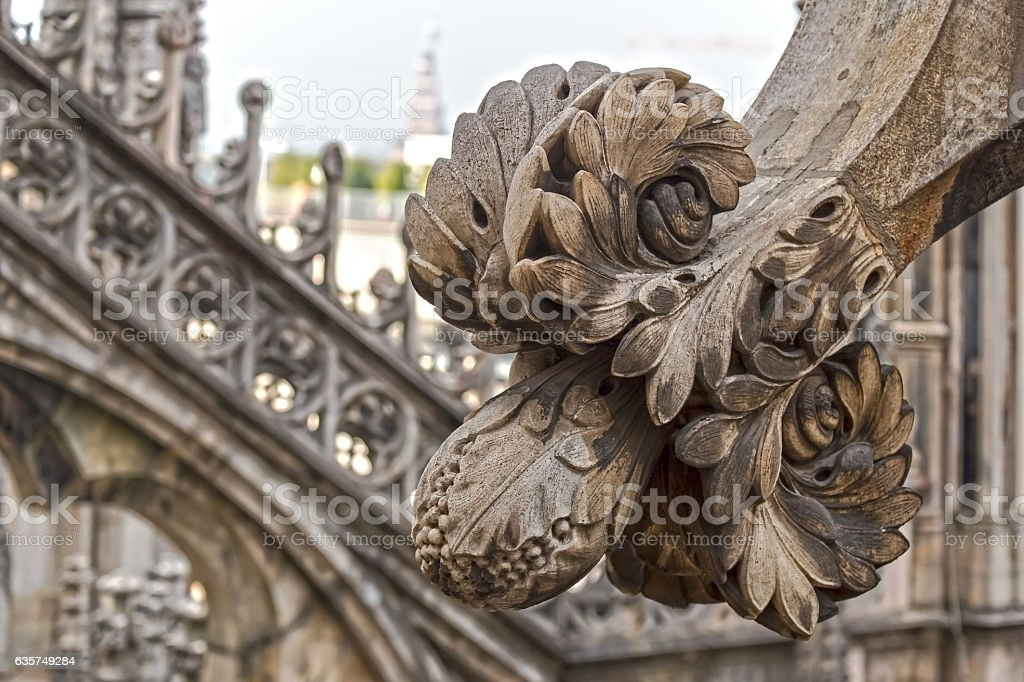Architectonic details from roof of the famous Milan Cathedral stock photo