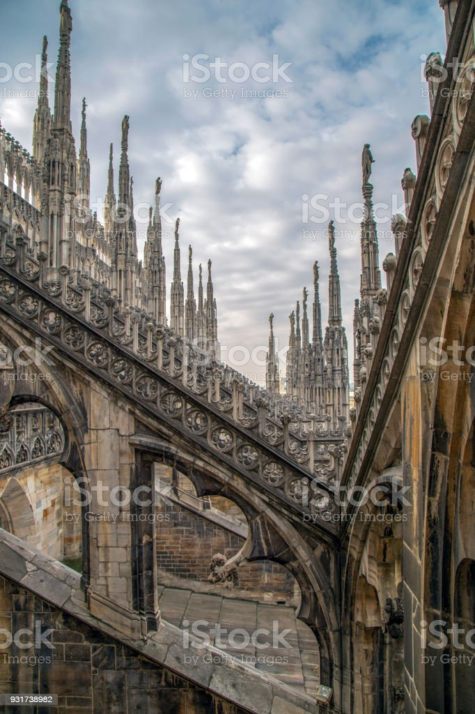 Architectonic details of the Milan Cathedral stock photo