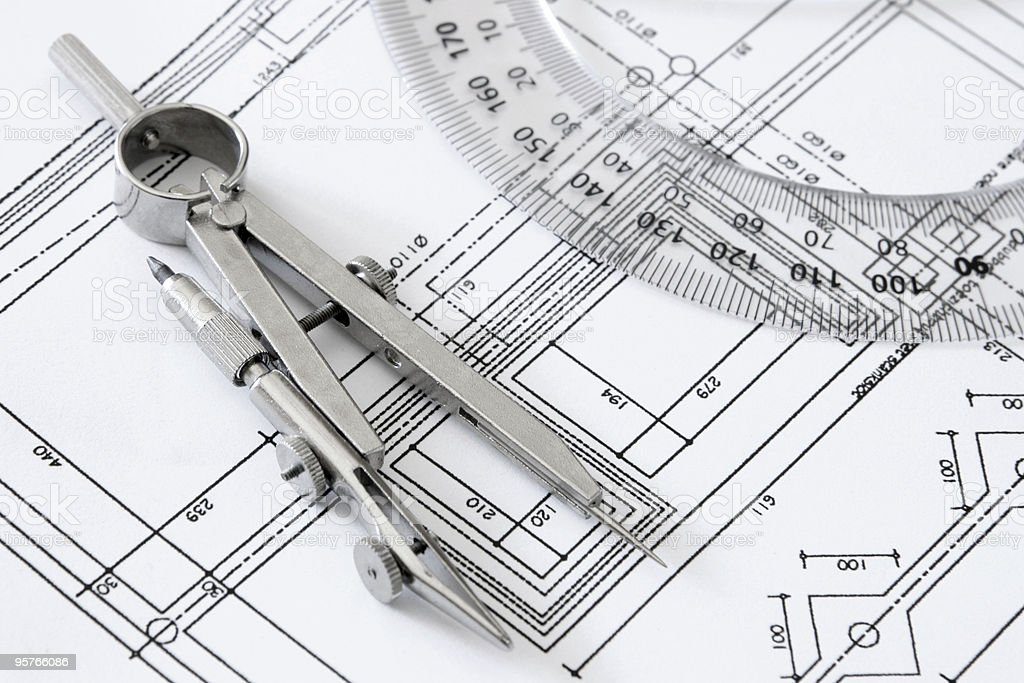 Architect's Blueprints With Ruller and Drawing Compass stock photo