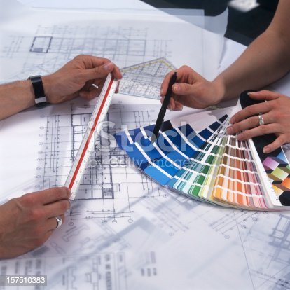 istock Architects checking the colors 157510383