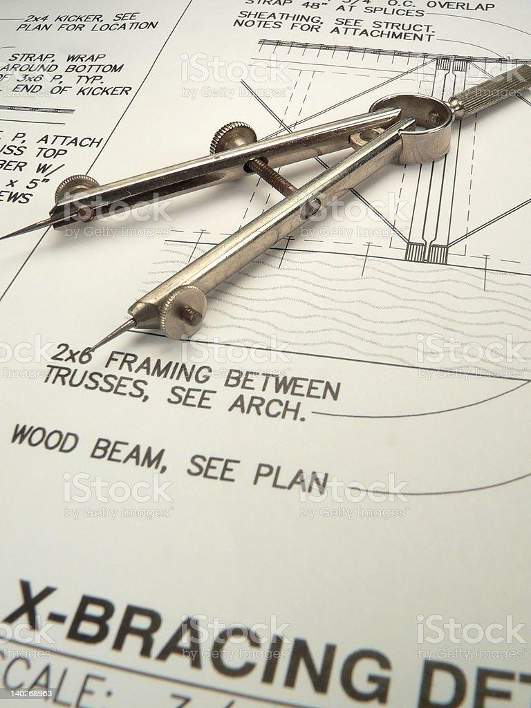 Architect's Compass (mid-DOF) royalty-free stock photo