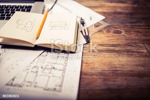 istock Architects desk 932384824