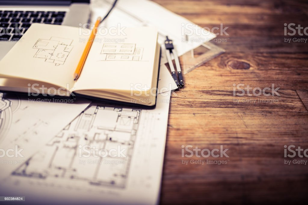 Architects desk stock photo