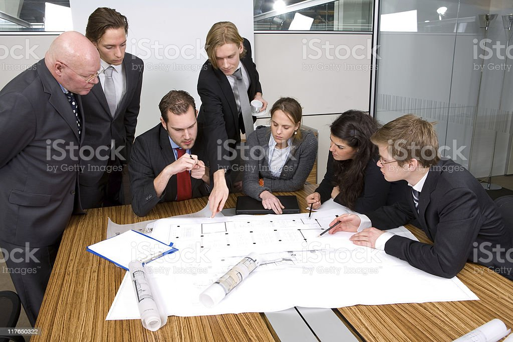Architects discussing a design royalty-free stock photo