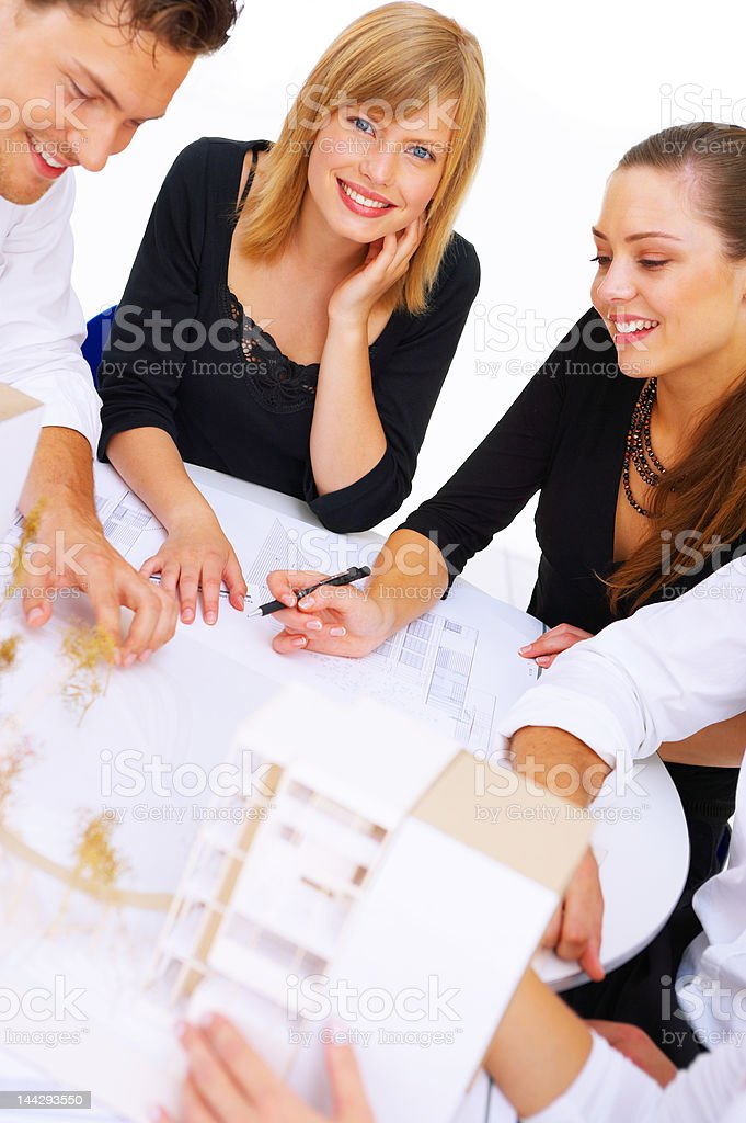 Architects discussing royalty-free stock photo