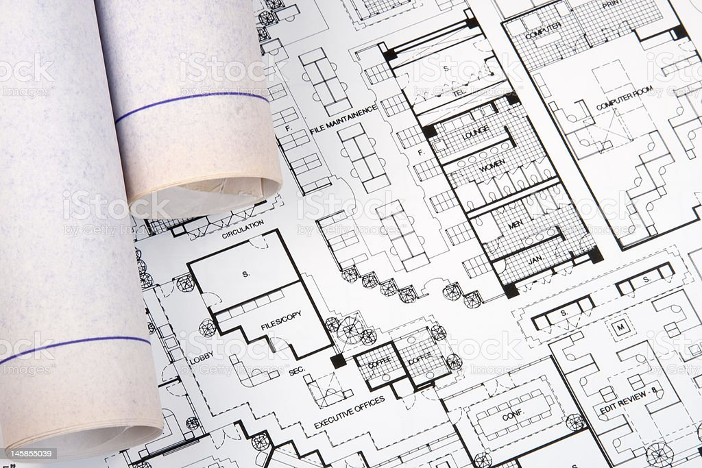 Architect's Drawing and Plans royalty-free stock photo