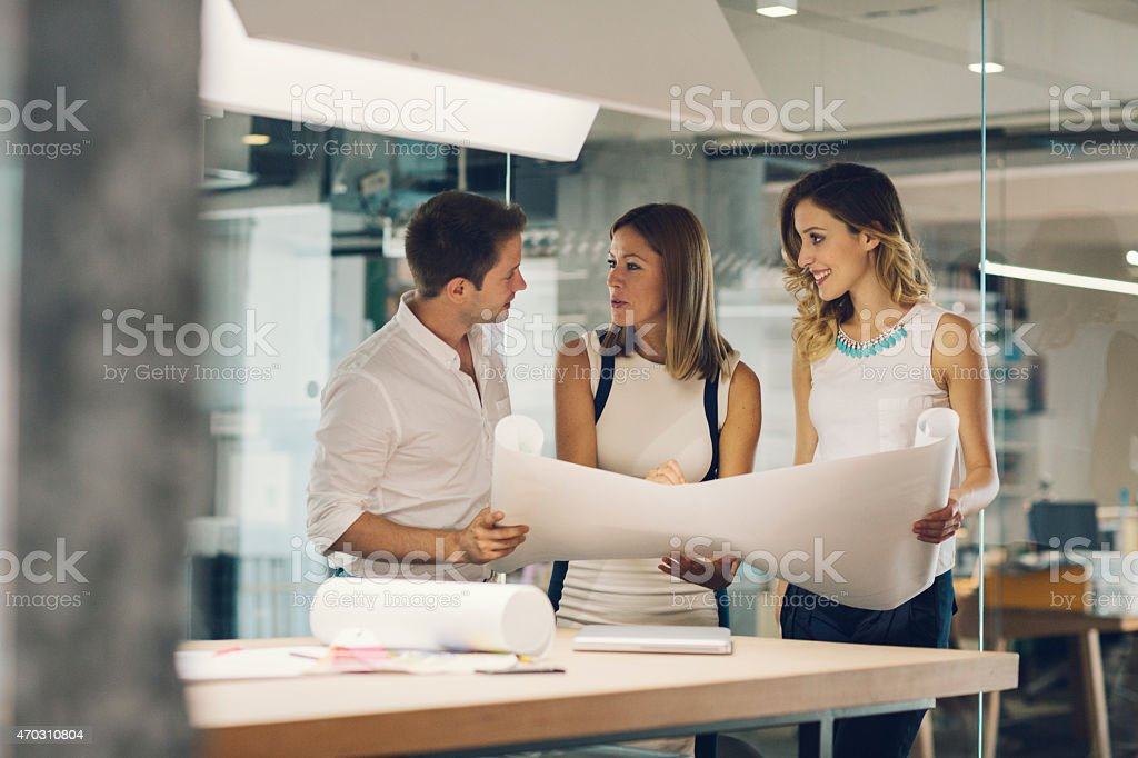 Architects Expertise Blueprint in the office. stock photo