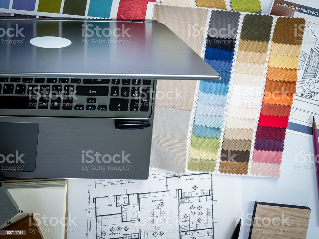 Architects Interior Designer Desk With Laptop Shop Drawing Material Sample Royalty Free