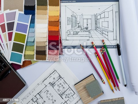 Architects Interior Designer Desk With Laptop Shop Drawing