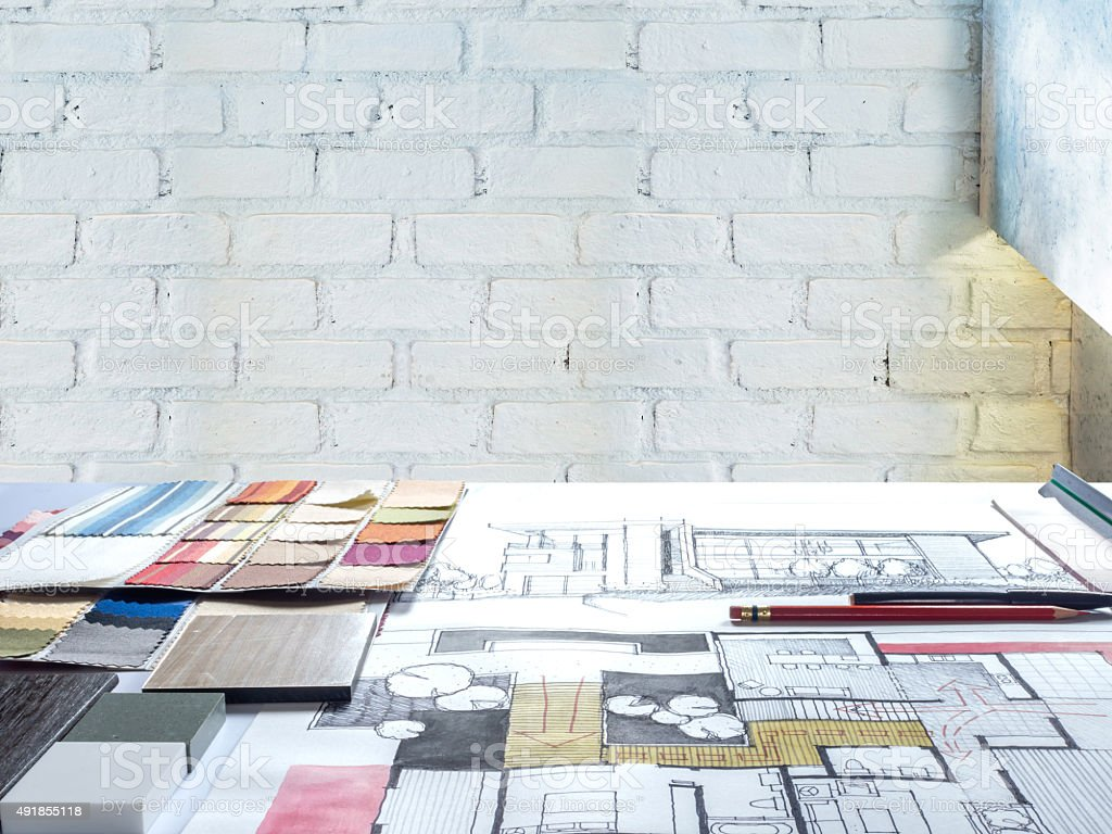 Architects & Interior designers working table in modern office stock photo