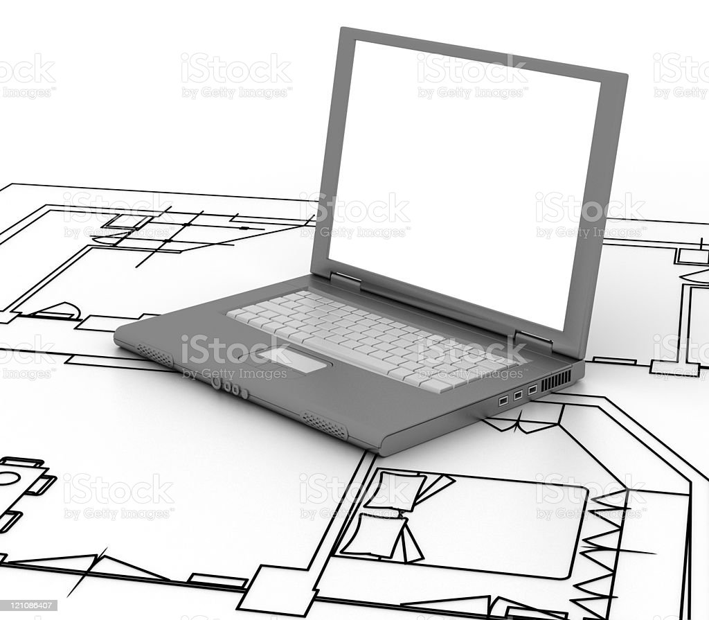 Architect's laptop (isolated on-white) royalty-free stock photo