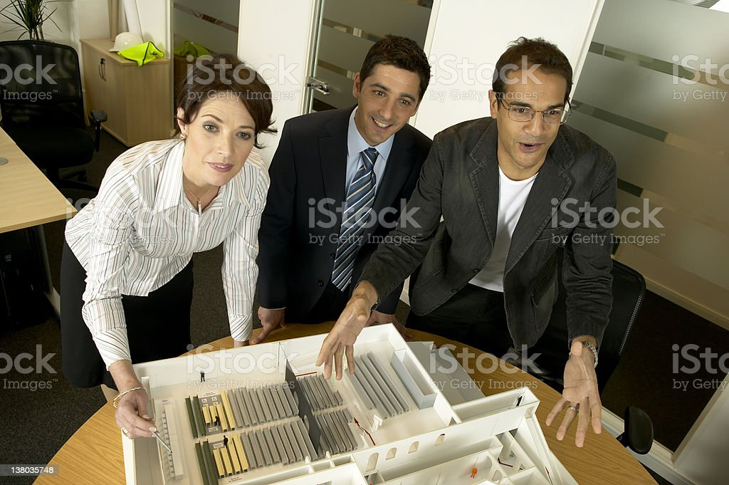 Architects studio.N.B.* mocked up plans and model. royalty-free stock photo