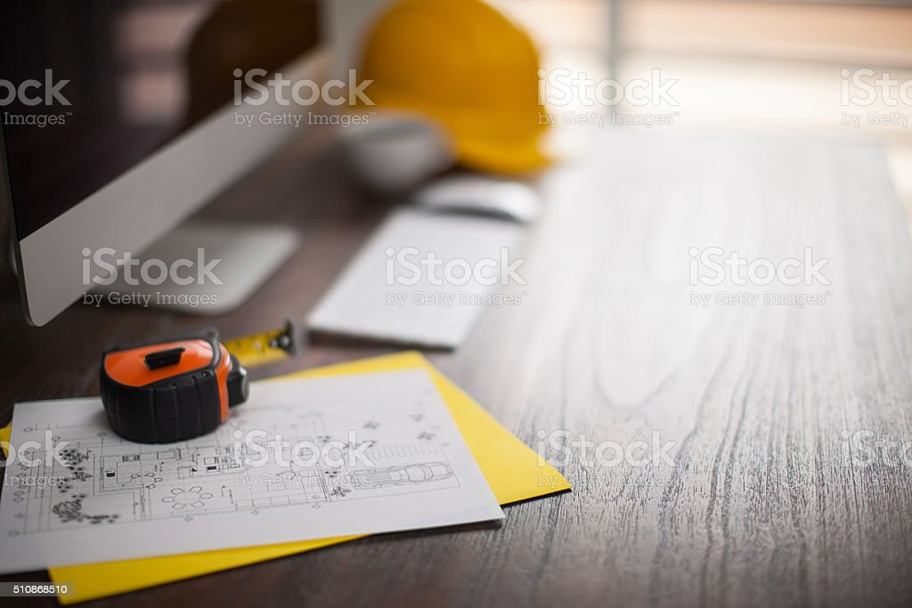 Architect's work desk with copy space stock photo