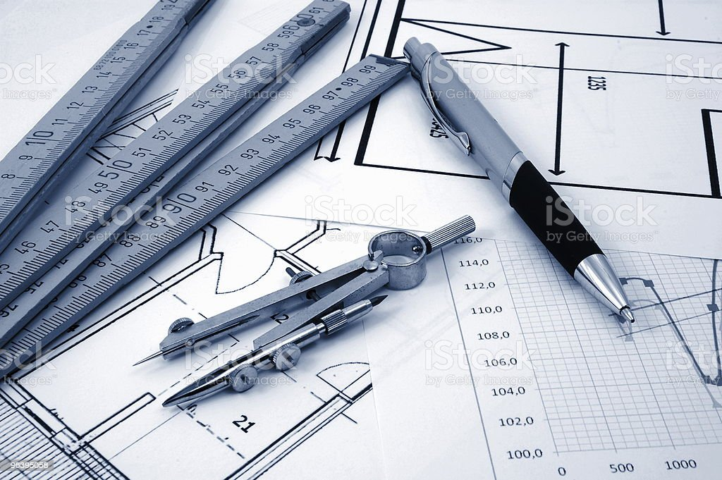 architectur plans of residential real estate - Royalty-free Architect Stock Photo