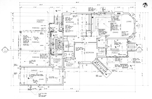 This is a picture of a set of blueprints (architectural drawings) the main floor of a house. Mode images like this can be found in my blueprints lightbox.