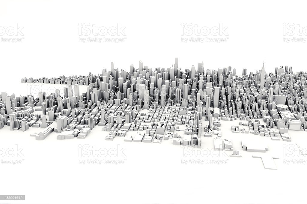 Architectural 3D model illustration of a large city. stock photo