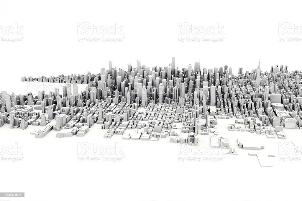 Architectural 3D model illustration of a large city. foto