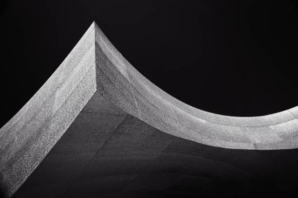Architectural abstract, At the peak of the curve, Black White stock photo