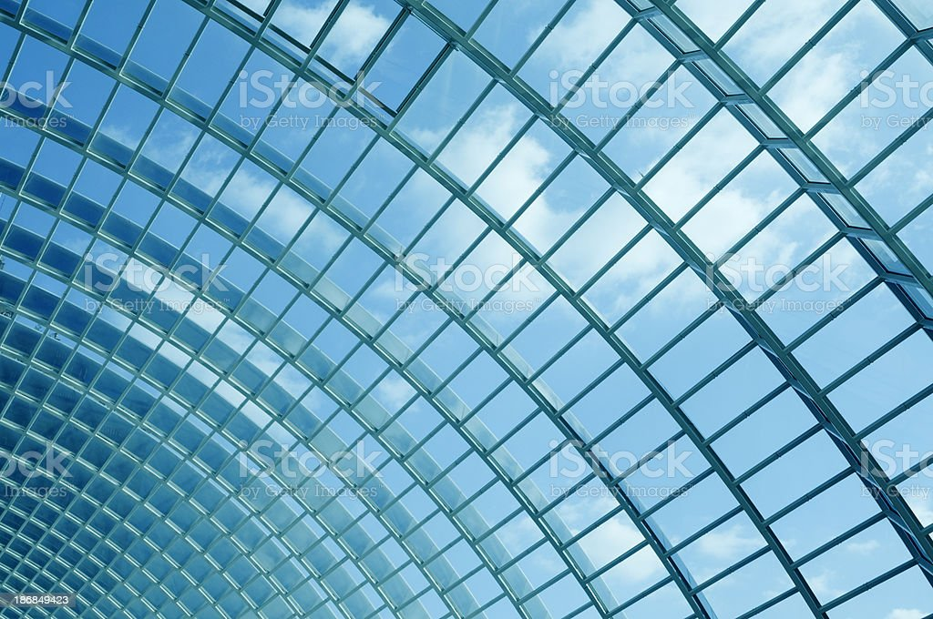 Architectural abstract - fragment of modern glass roof royalty-free stock photo