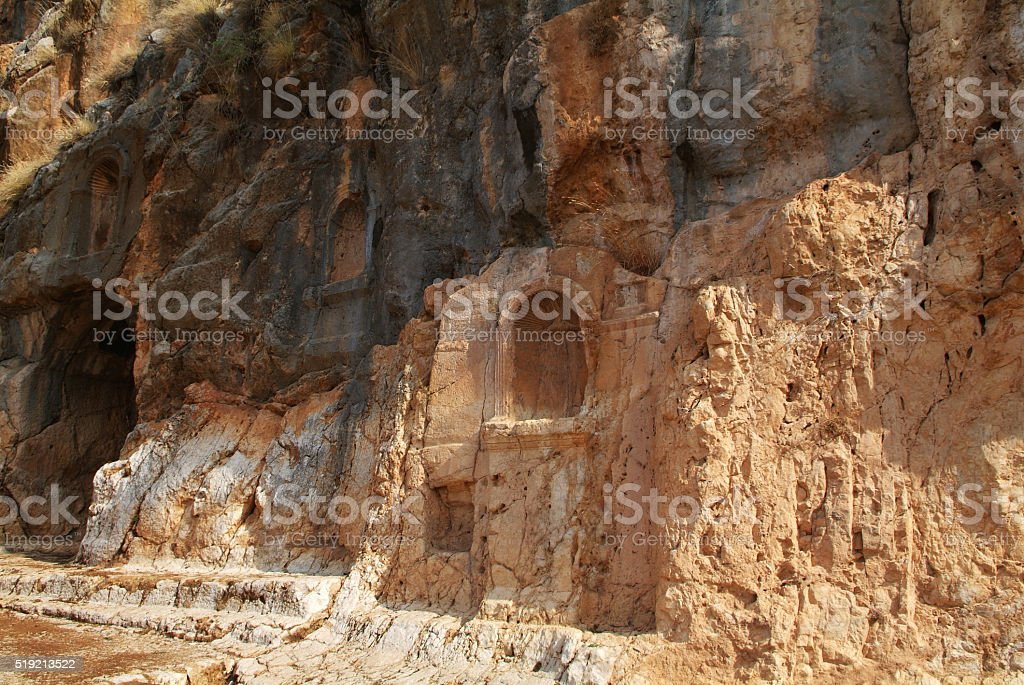 Architectural antiquities in natural reservation of Israel stock photo