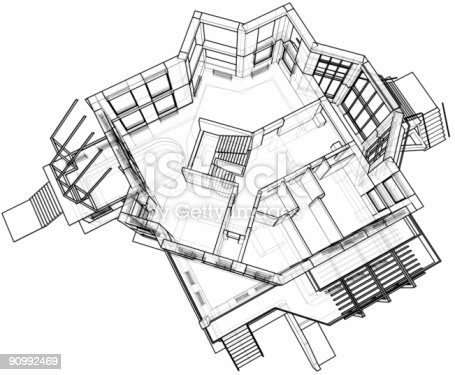 istock Architectural background - house: 3d technical draw 90992469