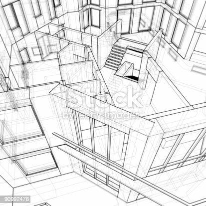 istock Architectural background - house: 3d technical draw 90992476