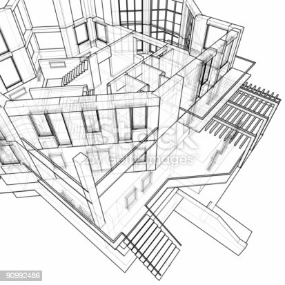 istock Architectural background - house: 3d technical draw 90992486