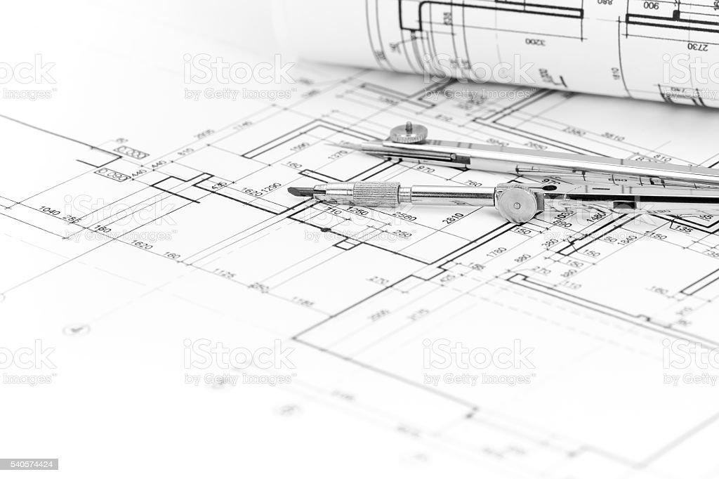 Architectural Background With Floor Plan And Drawing Compass Stock Photo Download Image Now Istock