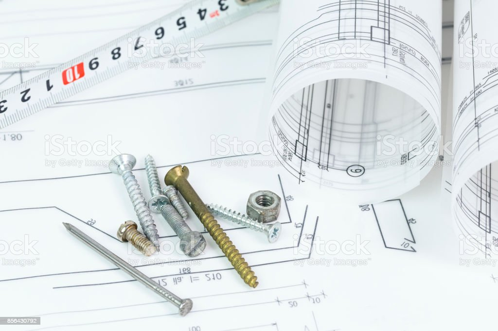 Architectural Background With Plan Blueprint Roll And