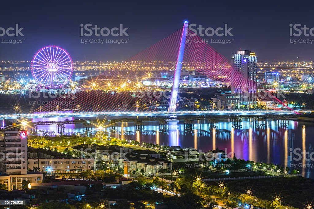 Architectural beauty sail bridge at night stock photo
