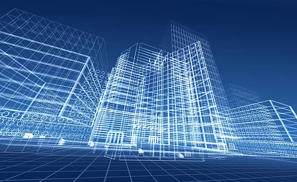 Architectural blueprint designs for contemporary buildings stock photo