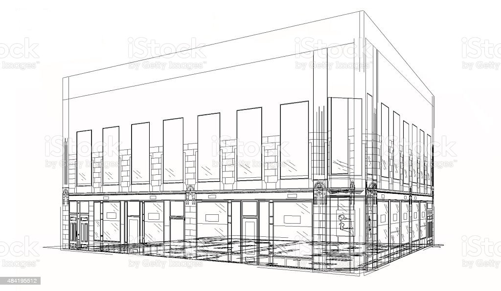 Architectural blueprint drawing in wireframe stock photo