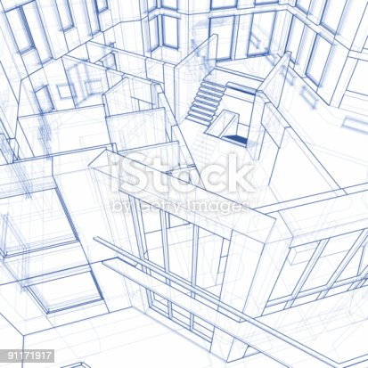 istock Architectural blueprint - house: 3d technical draw 91171917