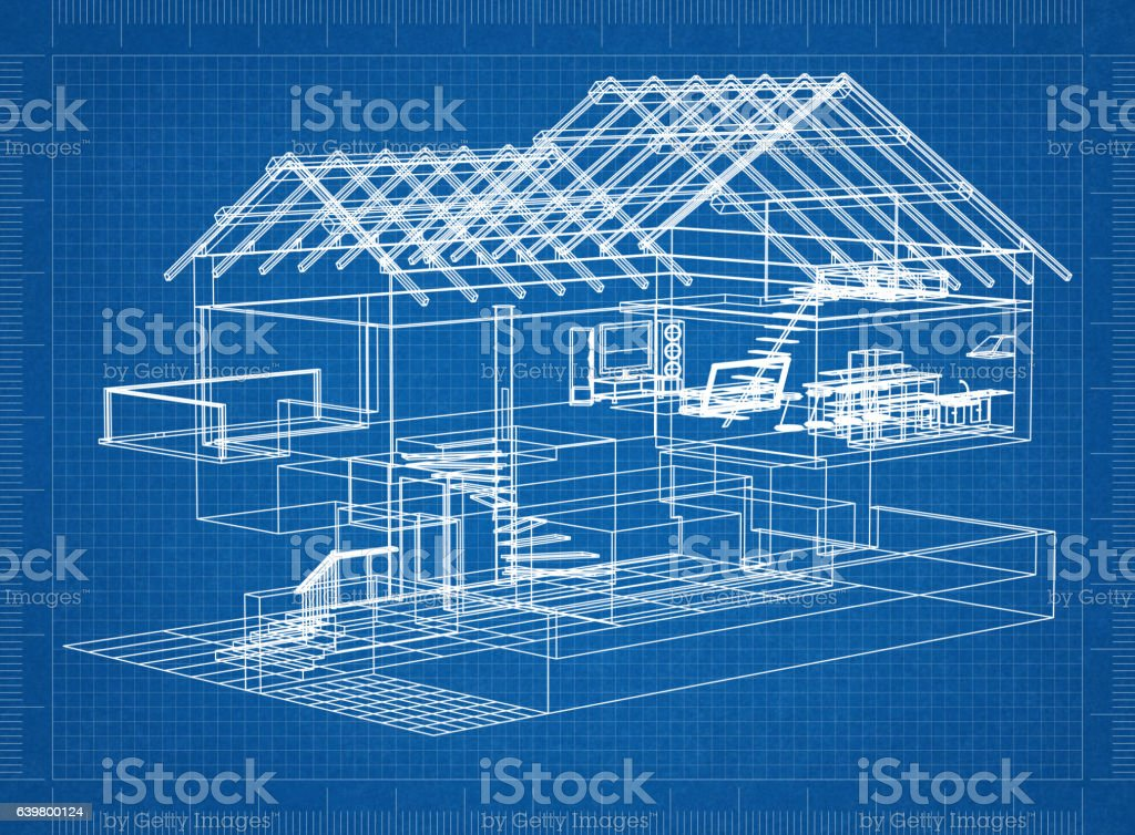 architectural blueprint of a house stock photo