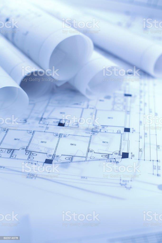 Architectural blueprint blueprints y rollos stock foto e imagen de architectural blueprint blueprints y rollos foto de stock libre de derechos malvernweather Choice Image
