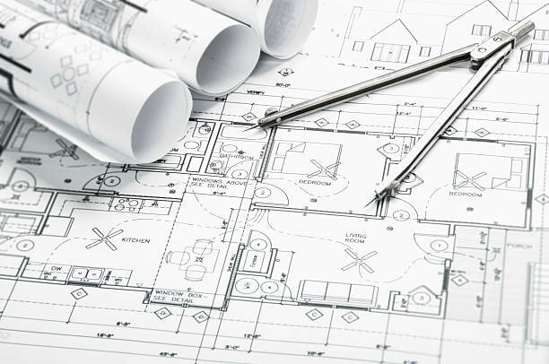 ... Architectural blueprints and blueprint rolls with drawing instruments  stock photo ...