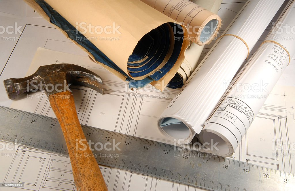 Architectural blueprints and tools royalty-free stock photo