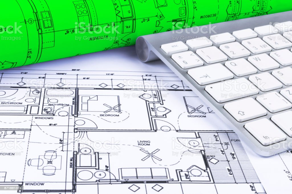 Architectural Blueprints Drawings Of The Modern House With Computer Keyboard Architectural Blueprints And Blueprint Rolls And A Drawing Instruments On The Worktable Drawing Compass Plans Stock Photo Download Image Now Istock