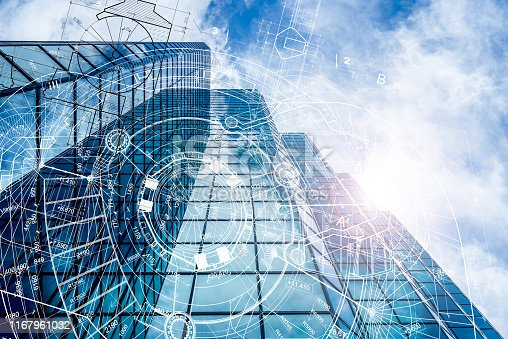 821915804 istock photo Architectural blueprints  glass building 1167961032