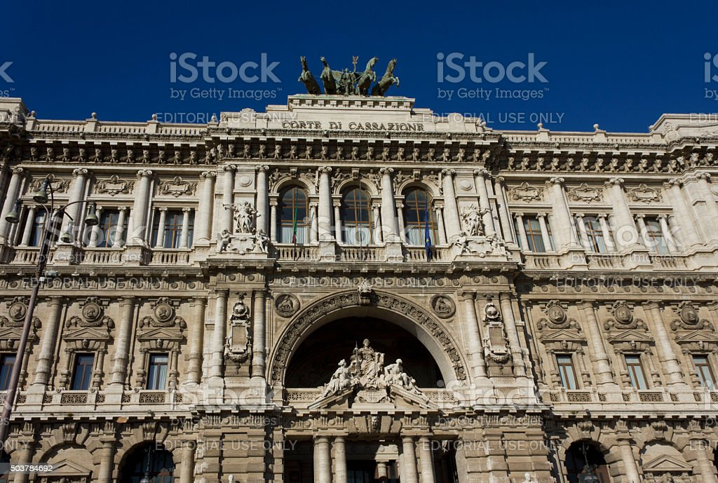 Architectural close up of Palace of Justice stock photo