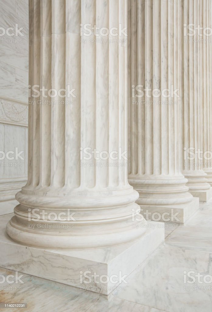 Architectural Columns in front of the United States Supreme Court in...