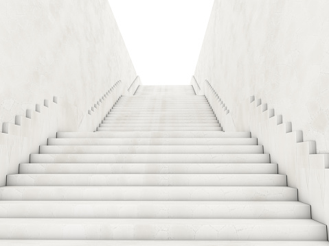 Architectural concept with stairs. 3D rendering